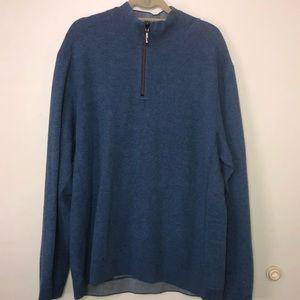 Men's Tommy Bahama Half Zip Sweater. Blue. Size XL